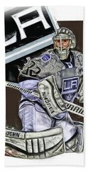 Jonathan Quick Los Angeles Kings Oil Art Bath Towel