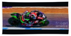 Jonathan Rea On His Way 2016 Kawasaki Bath Towel