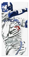 Bath Towel featuring the mixed media Jose Bautista Toronto Blue Jays Pixel Art 2 by Joe Hamilton