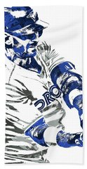 Hand Towel featuring the mixed media Jose Bautista Toronto Blue Jays Pixel Art by Joe Hamilton