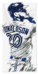 Hand Towel featuring the mixed media Josh Donaldson Toronto Blue Jays Pixel Art by Joe Hamilton