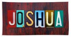 Joshua License Plate Lettering Name Sign Art Bath Towel