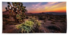 Joshua Tree And Cactus At Sunset Hand Towel
