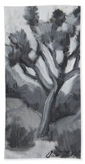 Hand Towel featuring the painting Joshua Tree Black And White Study by Diane McClary