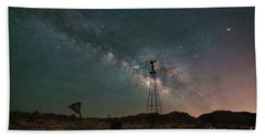 Joshua Tree Windmill Milky Way  Bath Towel