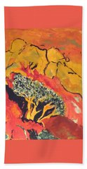 Bath Towel featuring the painting Joshua Trees In The Negev by Esther Newman-Cohen