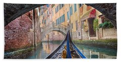 Journey Through Dreams - A Ride On The Canals Of Venice, Italy Bath Towel