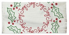 Joy Holly Wreath- Art By Linda Woods Bath Towel