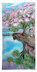 Joy Of Spring. Acrylic Painting For Sale Hand Towel