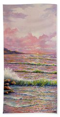 Hand Towel featuring the painting Joyces Seascape by Lou Ann Bagnall