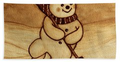 Joyful Snowman  Coffee Paintings Bath Towel by Georgeta  Blanaru