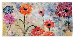 Joyous Floral Escape Painting By Lisa Kaiser Hand Towel