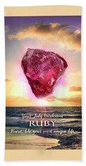 July Birthstone Ruby Hand Towel