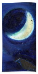 July Moon Hand Towel by Nancy Moniz