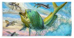 Jumping Mahi Mahi And Flyingfish Bath Towel