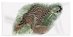 Pouncing Ocelot Bath Towel