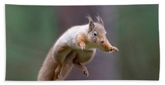 Jumping Red Squirrel Hand Towel