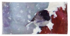 Junco In The Snow, Square Bath Towel by Christina Lihani
