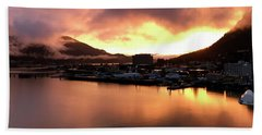 Juneau Sunset Hand Towel by Russell Keating