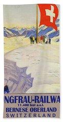 Jungfrau Railway, Bernese Oberland, Switzerland, Vintage Travel Poster Bath Towel
