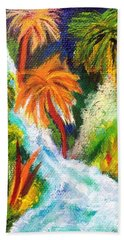 Hand Towel featuring the painting Jungle Falls by Elizabeth Fontaine-Barr