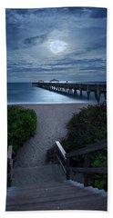 Juno Pier Stairs To Beach Under Full Moon Hand Towel