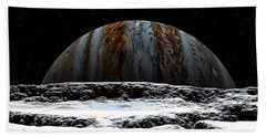 Hand Towel featuring the digital art Jupiter Rise At Europa by David Robinson