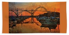 Just After Sunset On Yaquina Bay Hand Towel by Thom Zehrfeld