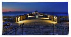 Hand Towel featuring the photograph Just Before Dawn Folly Beach Pier Charleston Sc Sunrise Art by Reid Callaway