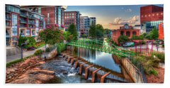 Just Before Sunset 2 Reedy River Falls Park Greenville South Carolina Art Hand Towel