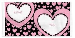 Just Hearts 2 Hand Towel by Linda Velasquez