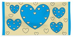 Just Hearts 4 Hand Towel by Linda Velasquez