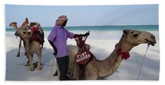 Just Married Camels Kenya Beach 2 Hand Towel by Exploramum Exploramum