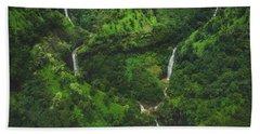 Kahili Falls Aerial Bath Towel