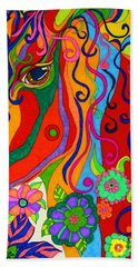 Hand Towel featuring the painting Kaleidoscope Eyes 2016 by Alison Caltrider