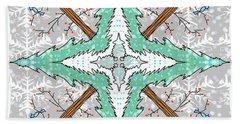 Kaleidoscope Of Winter Trees Bath Towel by Debra Baldwin