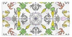 Kaleidoscope Rabbits Hand Towel by Debra Baldwin