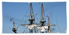 Hand Towel featuring the photograph Kalmar Nyckel - Docked In Lewes Delaware by Brendan Reals