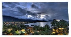 Kaneohe Bay Night Hdr Hand Towel by Dan McManus
