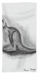 Kangaroo Drawing Hand Towel