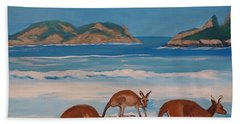 Kangaroos On The Beach Hand Towel