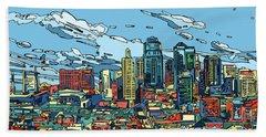 Kansas City Skyline Panorama Hand Towel