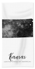 Kansas State Map Art - Grunge Silhouette Bath Towel