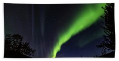 Bath Towel featuring the photograph Kantishna Northern Lights In Denali National Park by Brenda Jacobs
