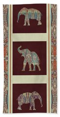Bath Towel featuring the painting Kashmir Elephants - Vintage Style Patterned Tribal Boho Chic Art by Audrey Jeanne Roberts