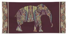 Hand Towel featuring the painting Kashmir Patterned Elephant 2 - Boho Tribal Home Decor  by Audrey Jeanne Roberts
