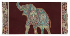 Bath Towel featuring the painting Kashmir Patterned Elephant 3 - Boho Tribal Home Decor by Audrey Jeanne Roberts