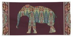Hand Towel featuring the painting Kashmir Patterned Elephant - Boho Tribal Home Decor  by Audrey Jeanne Roberts