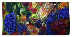 Katy's Grapes Bath Towel by Donna Walsh