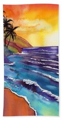 Kauai Na Pali Sunset Bath Towel by Marionette Taboniar